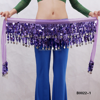 Fashion lady crochet belly dancing coins belt with sequin