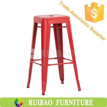 Red aluminum industrial metal bar chair for kitchen