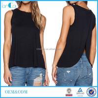 Wholesale Ladies Black Fancy Sleeveless Casual Top