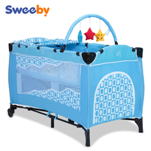 2015 Wholese blue baby travel cot bed