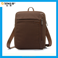 YINUO 10-Inch Waterproof Notebook Bag Laptop Messenger Bag for male Business Zipper Nylon and Leather Patchwork Tablet bag