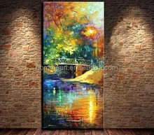 Knife Oil Painting 100% Hand painted Landscape Oil Paintings Creek Bridge in Park Abstract Canvas Art Home Decor Picture