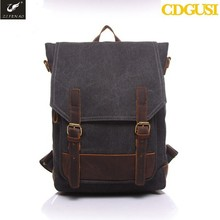 2015 New Mochilar Leather Backpack British Style Men's Backpacks Handsome Dark Thick Canvas Backpack Leisure Men