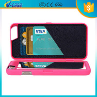 Three card slot wallet leather case with mirror for iphone 6 plus
