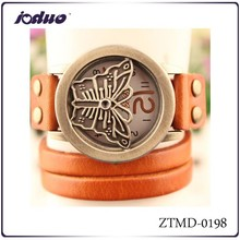 2015 wholesale vintage butterfly flip leather watches