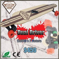 3000W double drive top speed 28km/h electric skates board
