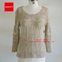 100%Acrylic Fashion Women Pullover Hand Crocheted Tops Sweater New 2016