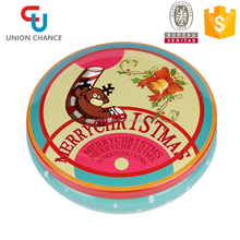 Christmas Novelty Round Metal Tin Can Tea Tin Box