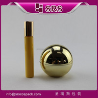 srs plastic 50g golden color acrylic plastic container wholesale for skincare and 15ml PP plastik roll on bottle with metal ball