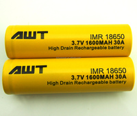 Factory sales AWT Qualified Hight Capacity 18650 li battery mah 30A for colored smoke e cigarette