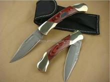OEMwood handle Damascus knife leather folding knife sheath UDTEK00552
