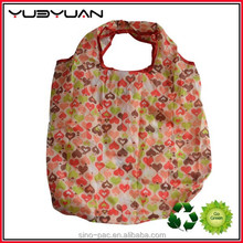 2015 Factory wholesale reusable recyclable eco friendly material 300T polyester supermarket shopping folding nylon tote bag