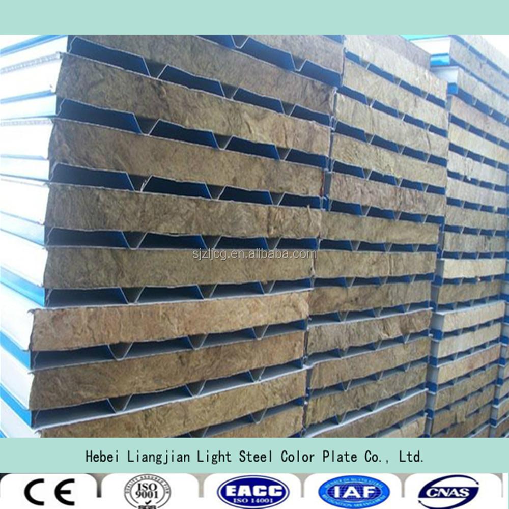 Rock Wool Sandwich Panel : Sandwich panel price rock wool for prefab house and