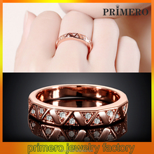 PRIMERO Fashion Women China factory custom large square rose gold cz wedding ring with rhodium plated women party Eternity Ring