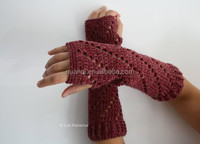 New Custom Brownish Red Hollow Knitted Arm Sleeves for women