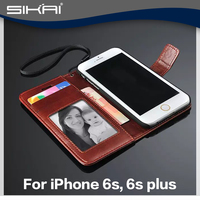 Wallet Case For Apple iPhone 5 6 6s Magnetic Flip Leather Case with Photo Frame Card Holder Smart Stand Skin Bags Cover