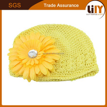 New design fashion handmade knitted children hats with flowers
