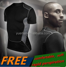 2015 New Men Training Tight Shirt Male Compression Running Basketball Fitness Training Short Sleeve Free Shipping 1033