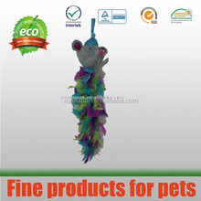 new design colorful mice cat toy with big feather tail