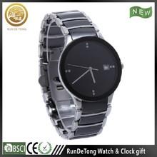 Classic pair size date movement ceramic watch, black or white ceramic