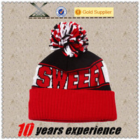Fashion custom jacquard cheap ski pom pom winter beanie hat sport hat