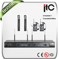ITC T-524UV Cheap FM 4 Channel Wireless Headset Microphone and Wireless Microphone Transmitter Receiver