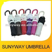 Pretty Little White Dots 2 Fold Umbrella With Lace for Lady