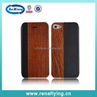 fashion luxury phone leather wood case for iphone 5