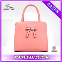 China wholesale Cream color Bowknot bag soft leather pu lady handbag stock promotion