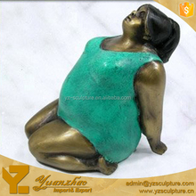 life size painted color bronze sculpture yoga fat lady statue for gardenc decoration