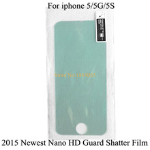 2015 Newest Hot! Nano Soft HD Guard Shatter Protector Films For iphone 5 5G 5S Hardness 9H Like Premium Tempered Glass Film D58