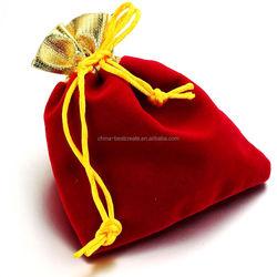 Red Drawstring Rope Velvet Bag Square Festival Gift Packing Pouch 11.5x9.5cm