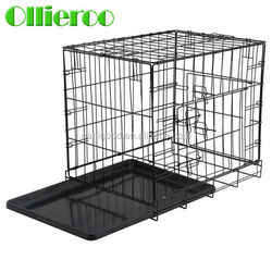 Most Popular Portable Black Color 2 Doors Foldable Metal Dog Cage for Sale