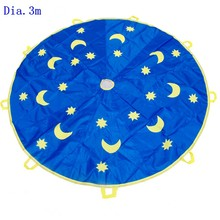 Dia.3m moon and star nylon material toy parachute for outdoor game