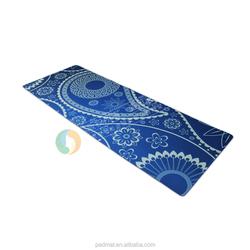 non slippery felt fabric yoga mats rubber backing, sublimation print yoga mat blue