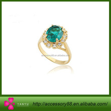Gold Plated Wedding Ring,Silver plated engagement ring,Green Crystal Diamond ring