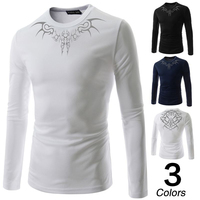 New Style men's fashion casual long sleeved printed t-shirt