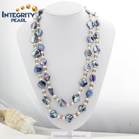 unique special design natural mother of pearl long 47 inches vintage style pearl necklace