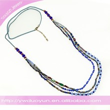 Winter Triple Layered Elegant Bule Beads Swing Necklace