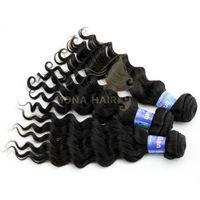Different color light/dark brown/block #1b best brazilian hair water wave aaaaa natural super wave hair extensions