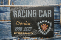 jeans leather patch beanies label+Racing Car.:Genuine Leather+Embossed+Metal Logo+Gold Foil Stamp+Silk Screen Print