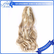 New style long ponytail blond synthetic diamond hair pieces, draw string hair piece, elastic band ponytail hairpieces