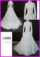 2013 guangzhou islam style long sleeves lace long A-line bridal gowns/wedding dress with beaded pattern belt L0050