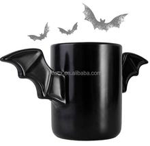 Fashion black ceramic bat mug / bat wings mug / plain black ceramic mug