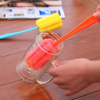 HQ010 long PP handle assorted color soft sponge glass bottle brush
