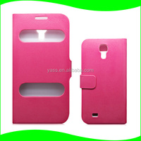 Alibaba Express Cell phone Flip Cover PU Leather Book Folio Flip View Window Case For Samsung Galaxy S4
