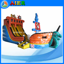 New printing for pirate ship inflatable slide, special colors pirate ship slide, inflatable colorful pirate ship slide