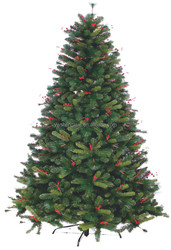 Natural Green PVC+PET pine needle christmas tree with red berries