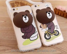 3D cute bear cartoon pattern PC Silicone creative mobile phone case cover with stand for apple iphone 5 5s 6g plus CO-MIX-9046