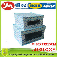 Foldable polyester fabric clothes storage drawer with transparent window